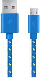 Kabel USB Esperanza MICRO USB 2.0 A-B M/M, oplot, 2m   Niebieski  EB181B (5901299920138)