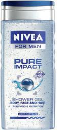 Nivea Men Pure Impact Shower Gel - żel pod prysznic/do mycia włosów/twarzy dla mężczyzn 250ml