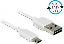 Kabel USB Delock USB 2.0 micro AM-BM Dual Easy-USB 1m biały (84807)