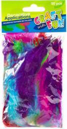 Craft with Fun Ozdoba dekoracyjna piórka kolorowe farbowane mix