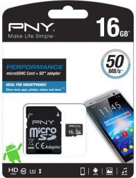 Karta MicroSD PNY Technologies microSDHC 16GB UHS-I + Adatper (SDU16GPER50-EF)