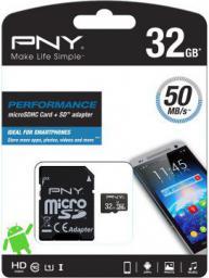 Karta MicroSD PNY Technologies microSDHC 32GB UHS-I + Adapter (SDU32GPER50-EF)