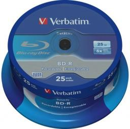 Verbatim 25 szt. BD-R Blu-Ray 25GB 6x Speed Datalife No-ID Cakebox (43837)