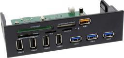 """Czytnik InLine Panel 5.25"""", 8x USB, Czytnik kart (33394H)"""