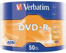 Verbatim DVD-R 4.7GB X16 MATT SILVER WRAP 50 SPINDLE (43788)