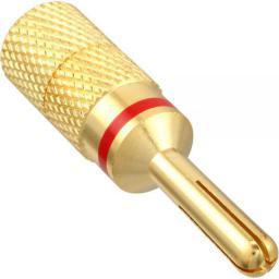 InLine Końcówka Bananowa, Plug męska pozłacana, czerwona,  4mm (99112E)
