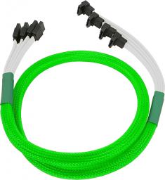 Nanoxia przewód SATA III 4x, wtyki kątowe 85cm, neonowa zieleń (NXS6GSCNG)