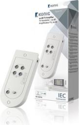 Konig Wzmacniacz sygnału TV o 20 dB z regulacją wzmocnienia, 4 wyjścia (KN-AMP40)