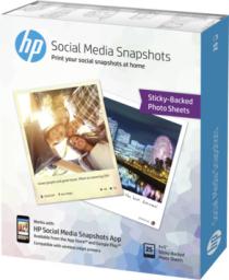 HP Przyklejany papier fotograficzny Social Media Snapshots 25 arkuszy 10×13 cm (W2G60A)