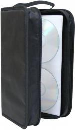 Segregator na 96 szt. CD, tekstylny, czarny, album, zamek błyskawiczny