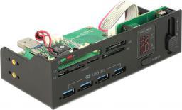 """Czytnik Delock 5.25"""" 5 gniazd + hub z 4 portami USB 3.0 Czarny (91494)"""