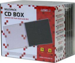 Logo Box na 1 szt. CD, przezroczysty, czarny tray, 10,4 mm, 10-pack