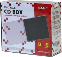Logo Box na 1 szt. CD, przezroczysty, czarny tray, 10,4 mm, 5-pack