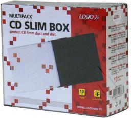 Logo Box na 1 szt. CD, przezroczysty, czarny tray, cienki, 5,2mm, 10-pack
