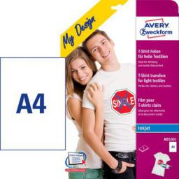Avery Zweckform Folie Transferowe na Koszulki do Jasnych Tkanin, 5 arkuszy