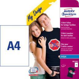Avery Zweckform Folie Transferowe na Koszulki do Kolorowych Tkanin, 4 arkusze