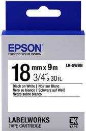 Epson Taśma  LK5WBN,  czarny na białym,  18mm,  9m (C53S655006)