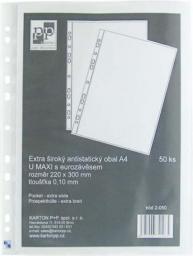 Karton P+P Koszulka na dokumenty U maxi, A4, 220 x 300mm, 100mic, przezroczysta 50szt.