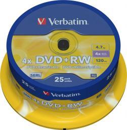 Verbatim DVD+RW 4.7 GB 4x 25 sztuk (43489)