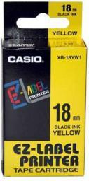 Casio Taśma XR-18YW1, czarny druk/żółty podkład, nielaminowany, 8m, 18mm