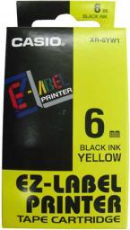 Casio Taśma do drukarek etykiet, Casio, czarny druk/żółty podkład, 8m, 6mm (XR-6YW1)