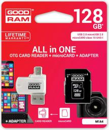Karta MicroSD GoodRam microSDHC 128GB CL10 + ADAPTER + CZYTNIK (M1A4-1280R11)