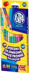 Astra Kredki ołówkowe trójkątne dwustronne 24 kolory