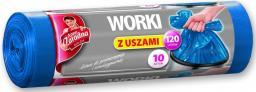 Anna Zaradna Worki na śmieci z uszami LDPE 120L 10szt. niebieskie - AZ1-WNS-3975