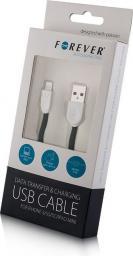Kabel USB Forever do iPhone 5/6 Czarny silikonowy płaski BOX (T_0012189)