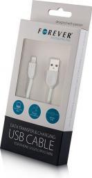Kabel USB Forever do iPhone 5/6 Silikonowy płaski Biały BOX (T_0012046)
