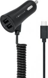 Ładowarka Forever 2x USB, microUSB Czarna (GSM016481)