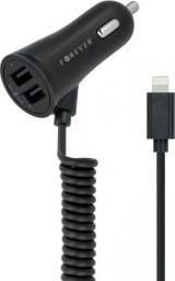 Ładowarka Forever 2x USB z kablem Lightning Czarna (GSM018041)