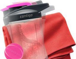 Komplet DRB-TWLSHK-PK Zestaw Fitness Ręcznik DR.Bacty + Shaker Contigo różowy