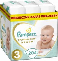 Pampers Premium Care Rozmiar 3 (Midi), 5–9kg, 204 Pieluszek
