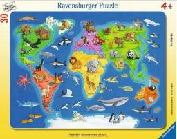 Ravensburger Puzzle 30el Mapa świata zwierząt (066414)