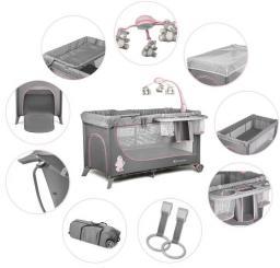 KinderKraft  łóżeczko turystyczne JOY pink z akcesoriami
