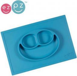Ezpz Silikonowy talerzyk z podkładką 2w1 Happy Mat niebieski (EUHMB003)