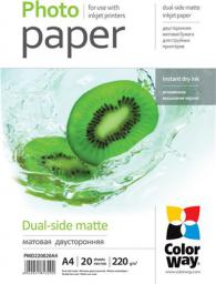 ColorWay Matte Dual-Side Photo Paper, A4, 220 g/m2, 20 ark. (PMD220020A4)