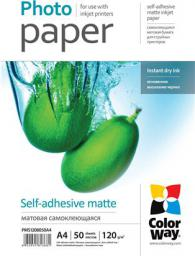 ColorWay Matte self-adhesive Photo Paper, A4, 120 g/m2, 50 arkuszy (PMS1208050A4)
