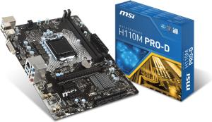 Płyta główna MSI H110M PRO-D, H110, DDR4, SATA3, USB 3.1, mATX (7996-019R)
