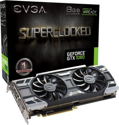 Karta graficzna EVGA GeForce GTX1080 SC Gaming ACX 3.0 8GB GDDR5X (256 Bit) DVI, HDMI, 3xDP, BOX (08G-P4-6183-KR)
