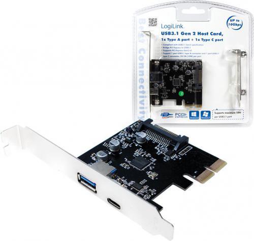 Kontroler LogiLink 1x USB-A, 1x USB-C, PCIe (PC0081)