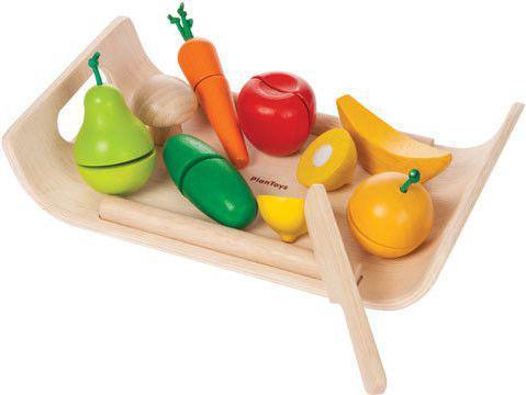Plan Toys Warzywa i owoce na tacy - drewniany zestaw do zabawy - PLTO-3416