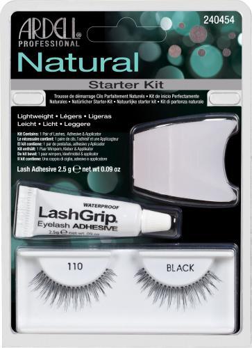Ardell Natural Starter Kit Black 110 sztuczne rzęsy + klej 2.5g + aplikator