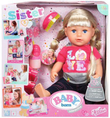 Zapf BABY born® Lalka interaktywna Siostrzyczka  (820704)