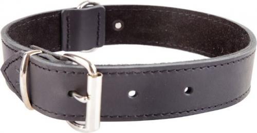 Dingo obroża ze skóry natłuszczanej, podszyta miękką skórą, okucia chrom, szer. 40 mm  x 75 cm (53-58 cm) czarny