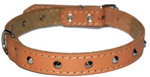 Dingo Obroża skórzana ozdobna podszyta filcem 1,0 x 27 cm - beżowa