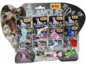 """Dingo kokardki dla yorka """"glamour dog"""" komplet 12 szt. ze spinką - 16634"""