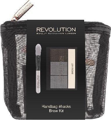 Makeup Revolution Handbag Hacks Matte Balm and Mini Blenders - Kosmetyczka (paletka cieni do brwi+pędzelek)) 1szt