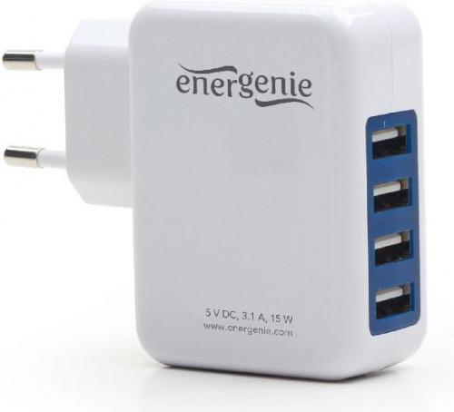 Ładowarka Energenie Uniwersalna ładowarka USB 3.1A, biała (EG-U4AC-01)